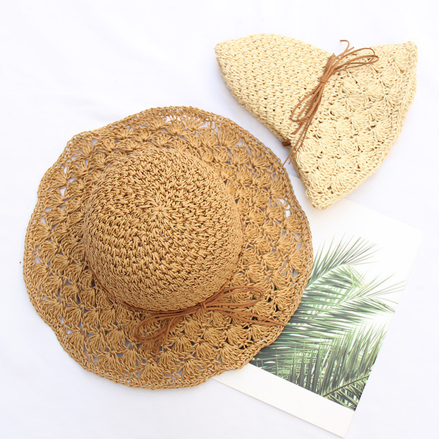 Handmade Crochet Straw Hat Ladies Bow Openwork Sunshade Hat Collapsible Sunscreen Big Beach Hat Female