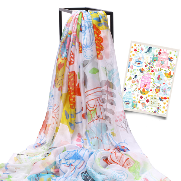 LYZA 200CM Women Soft Long Scarf Shawl Multifunction Digital Printing Sunscreen Beach Towel