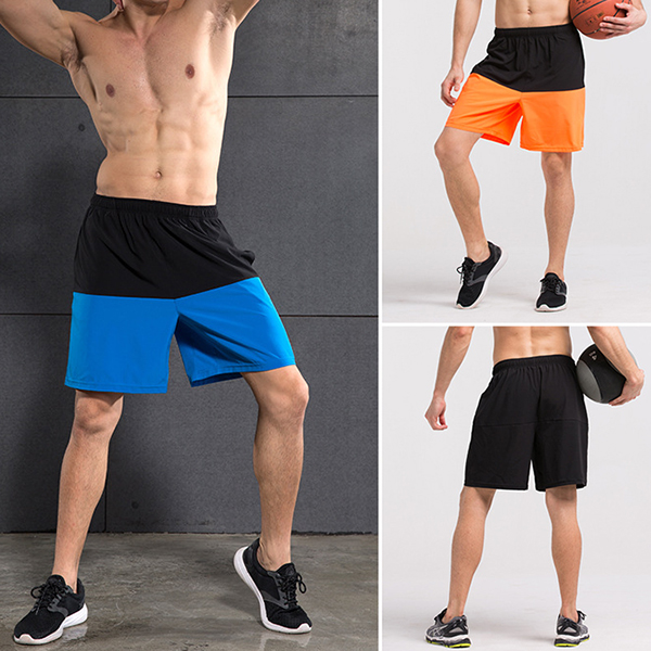 Men's Casual Stitching Hit Color Sports Shorts Breathable Fitness Shorts