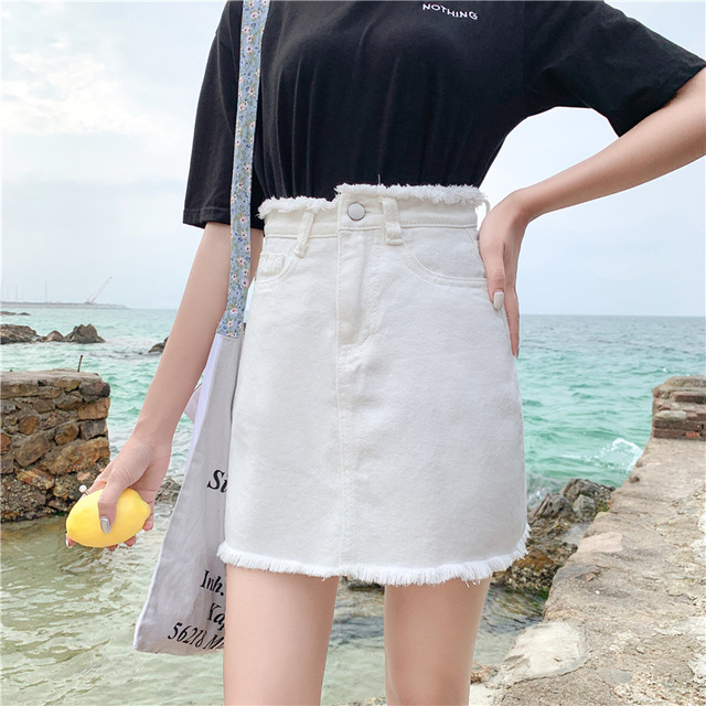 200 Kg Large Size Denim Skirt Female Season New Edging High Waist Bag Hip A Word Skirt