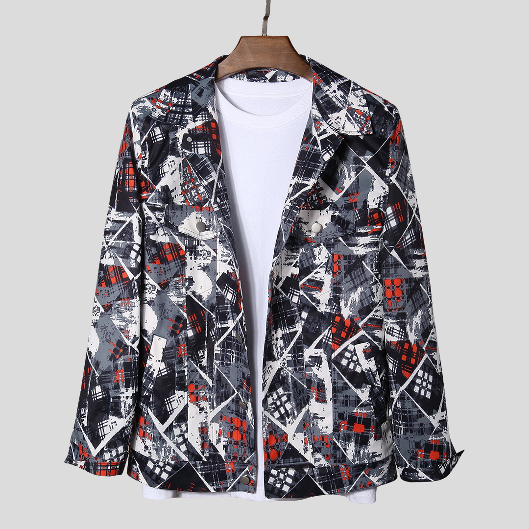 Abstract Printing Double Pockets Long Sleeve Casual Jacket