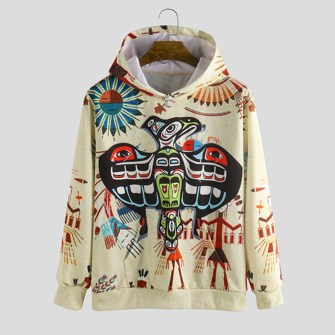 Autumn Character Printing Hooded Long Sleeve Casual Sweatshirt