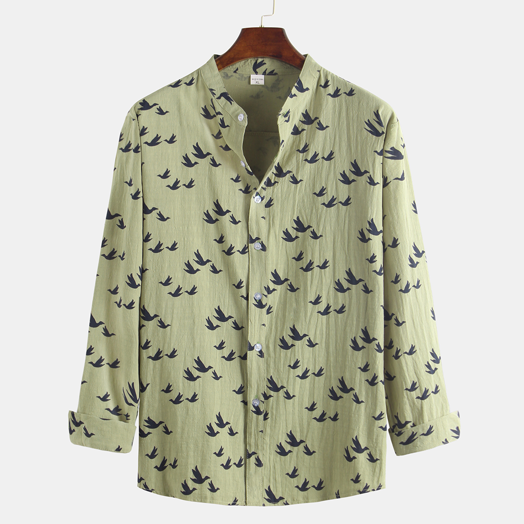 Autumn Floral Printed Linen Long Sleeve Stand Collar Shirts