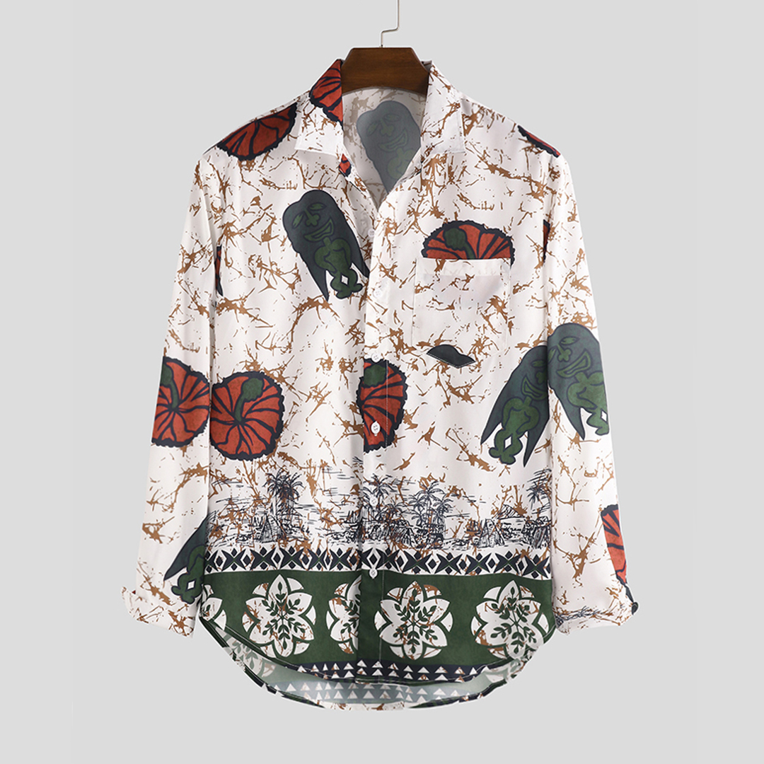 Art Lotus Leaf Frog Mix Print Long Sleeve Relaxed Shirts