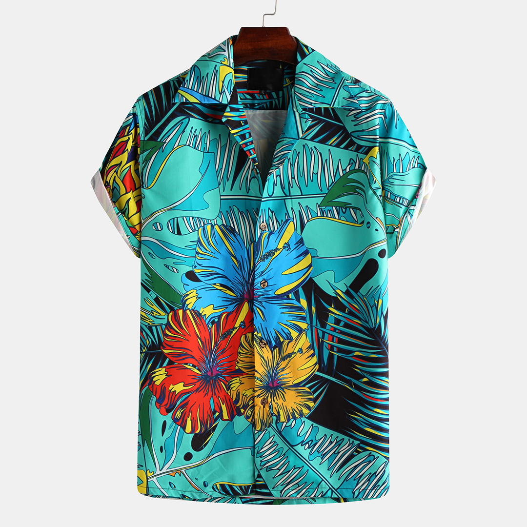 Art Chrysanthemum Print Short Sleeve Relaxed Shirts