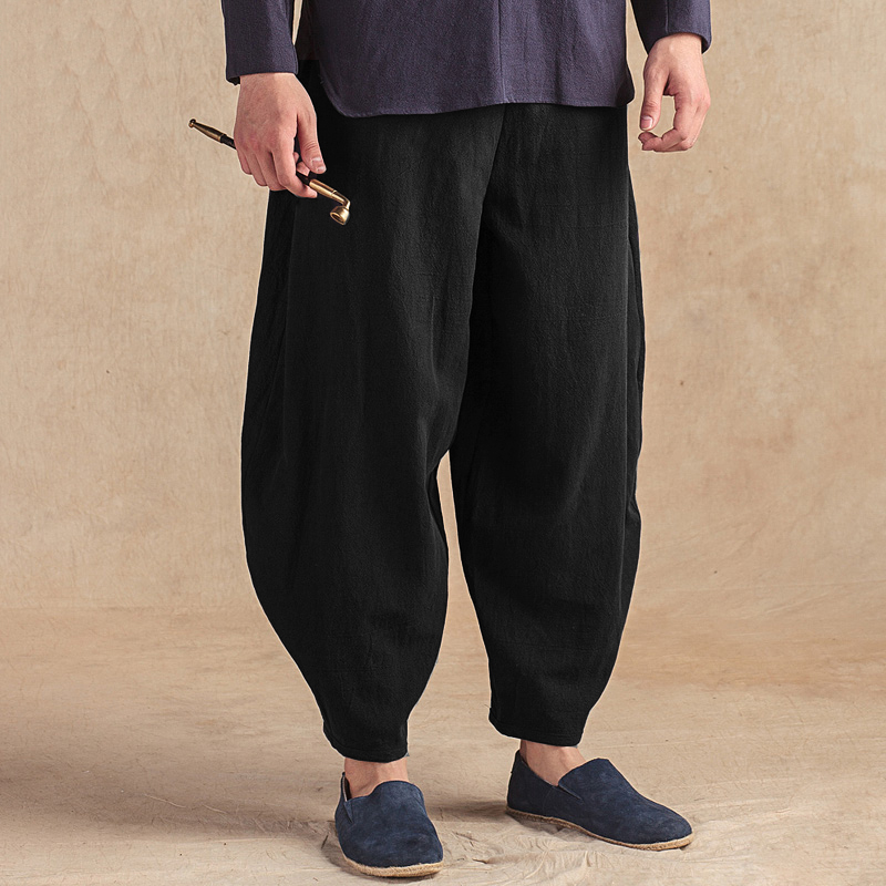 Baggy Vintage Solid Color Home Clothing Comfy Loose Casual Harem Pants