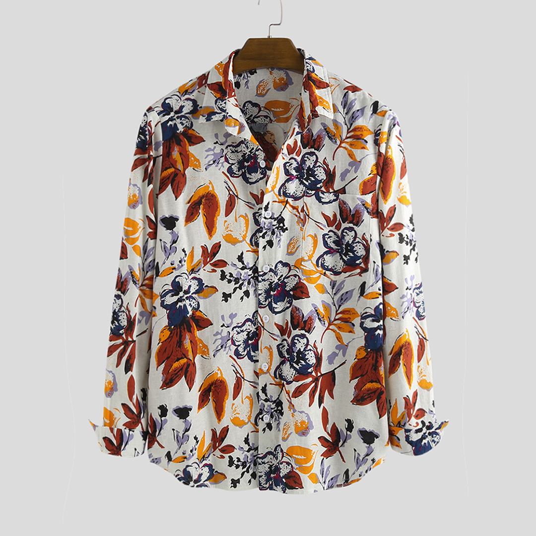 Autumn Mens Leaves Printing Long Sleeve Casual Shirts
