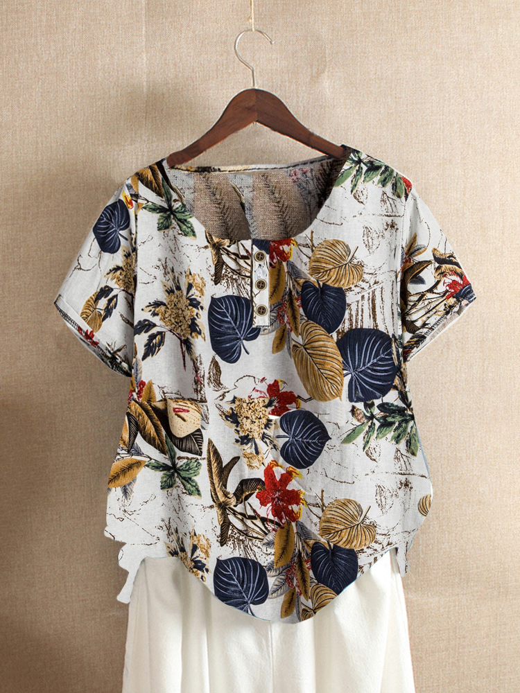 Button Leaves Print Short Sleeve Summer Vintage T-shirts