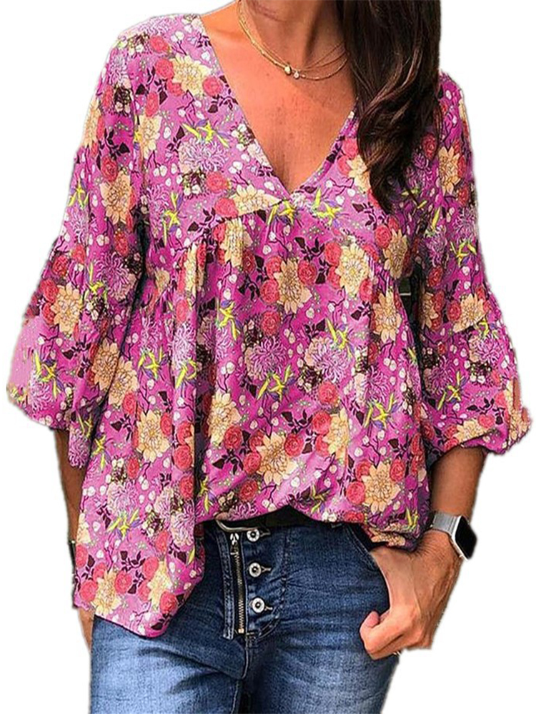 3/4 Sleeve Floral Print V-neck Blouse For Women