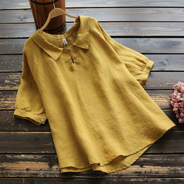 6531 New Season Women's Cotton And Linen Lapel Short-sleeved Shirt Loose Casual Solid Color Pullover Shirt Shirt