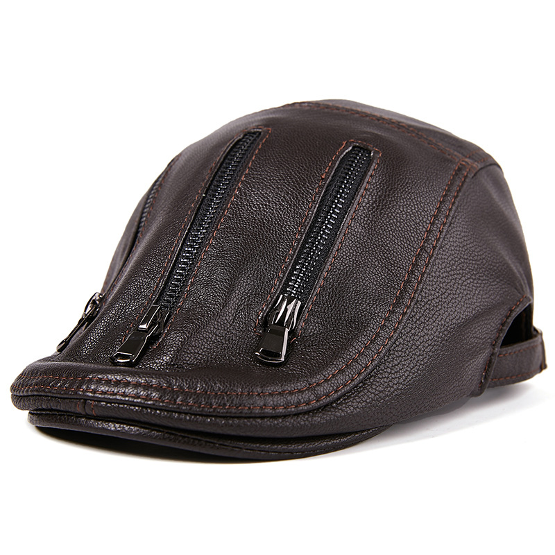 L/ XL/2XL Middle-aged Leather Windproof Painter Beret Hat Adjustable Thicken Newsboy Caps