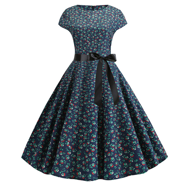 3d Retro Hepburn Wind Digital Print Big Swing Skirt Waist Dress Dress Female 344