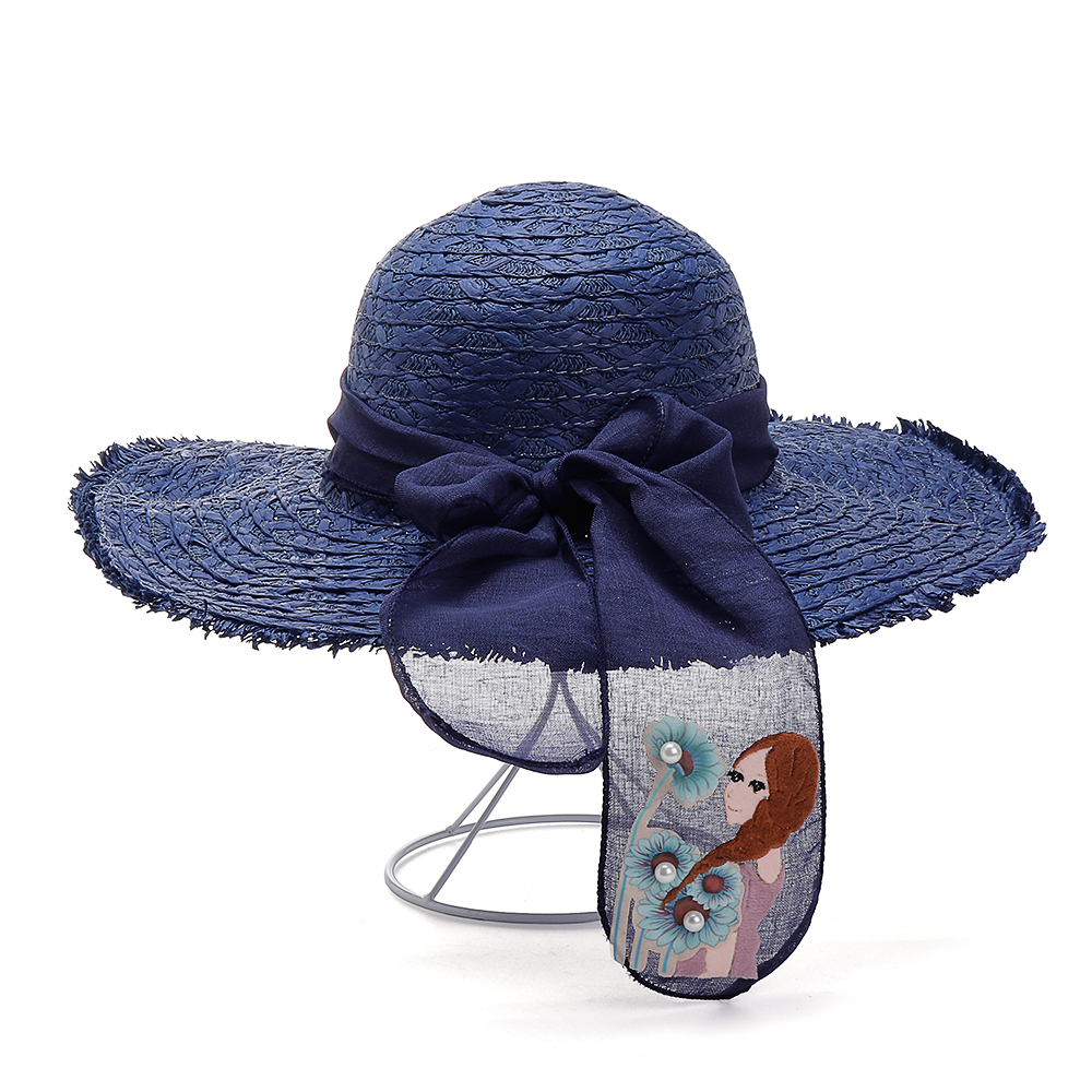 Womens Summer Straw Wide Brimmed Bucket Hat Outdoor Sun Protection Beach Fishing Caps Bowknot