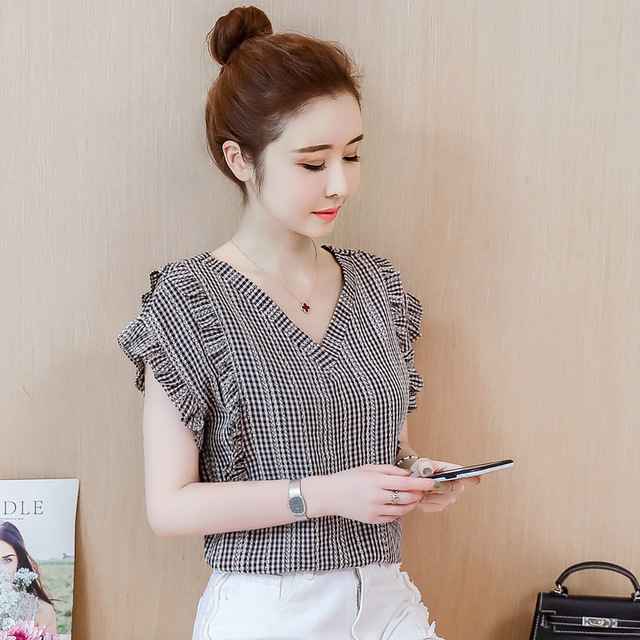 Years New Front And Rear V-neck Back Cross Fine Lattice Wooden Ear Half-sleeved Shirt Female Small Fresh