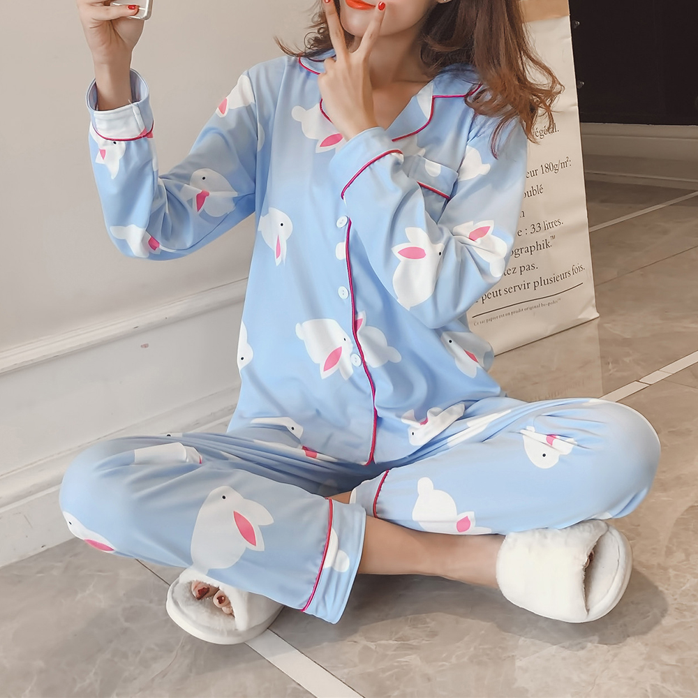 2Pcs Cartoon Printed Long Sleeve Lapel Button Silk Pajama Sets Sleepwear