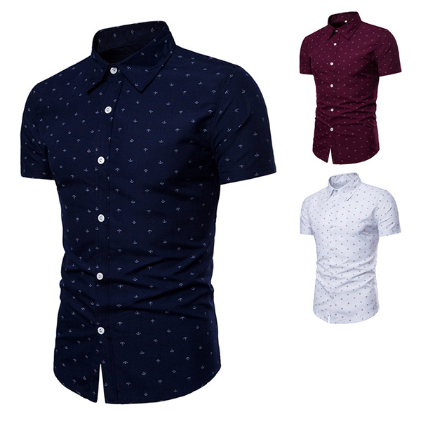 Anchor Printing Short Sleeve Lapel Button up Shirts for Men