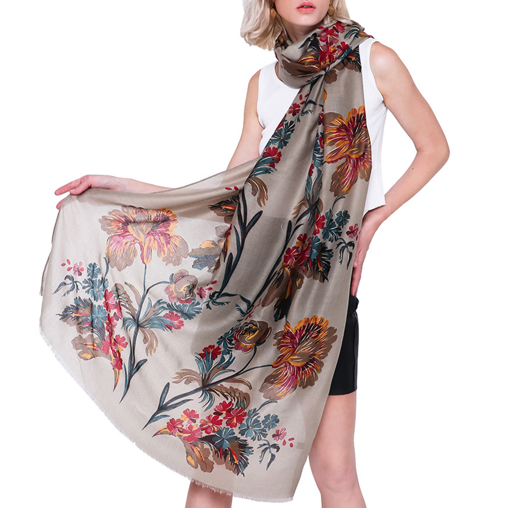 90*180CM Women Linen Summer Chinese Floral Painting Scarf Outdoor Breathable Flower Shawl