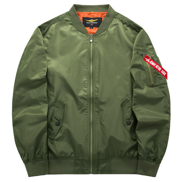 ASSTSERIES Mens Spring Autumn Casual Sport Flight Jacket Pure Color Bomber Jacket Big Size