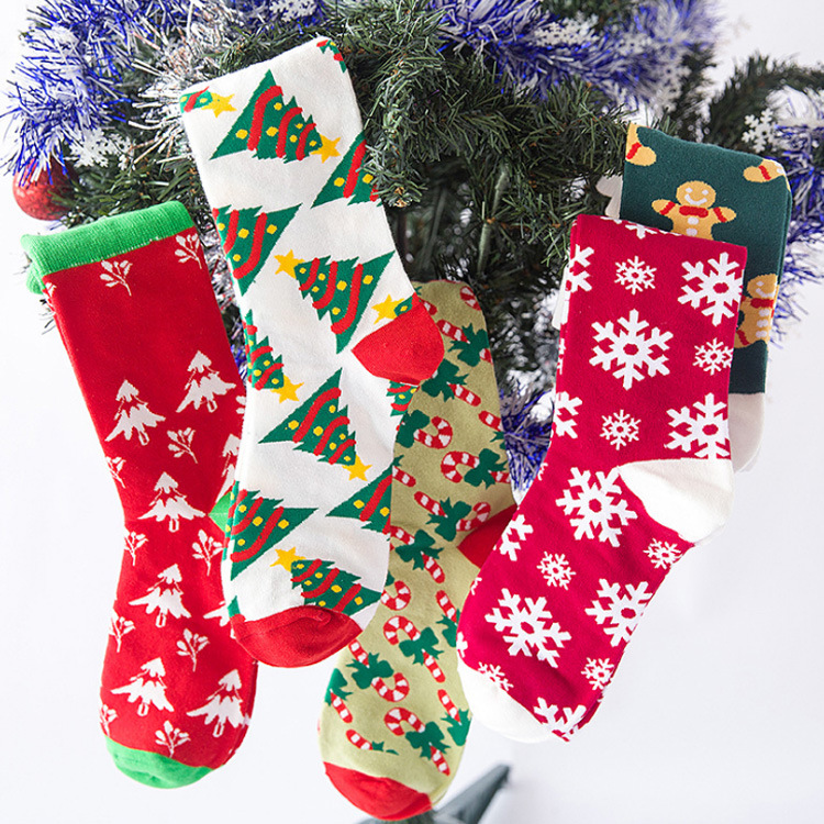 Ladies Chiristmas Pattern Jacquard Cotton Middle Tube Socks Casual Outdoor Socks
