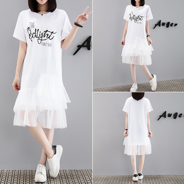 6811# Season New Letter Print Dress Female Short-sleeved Mesh Over The Knee Fat Mmt Shirt