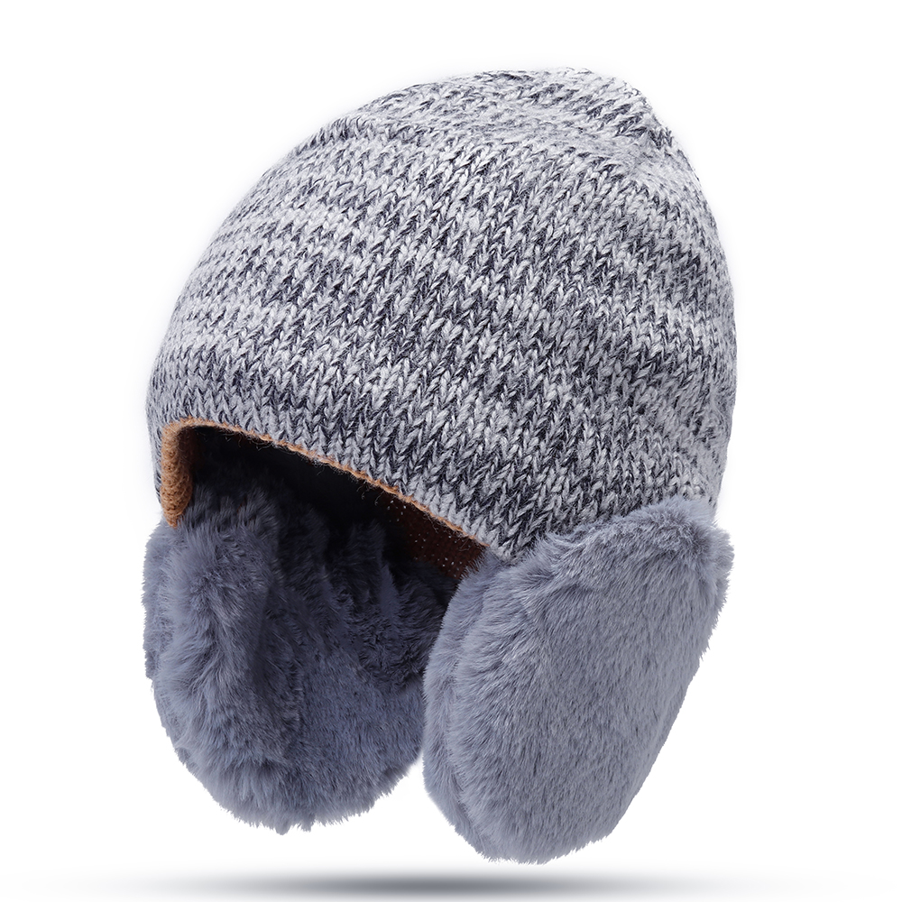 Imitation Rabbit Fur Earmuffs Knit Hat Men Women Winter Windproof Warm Beanie Cap