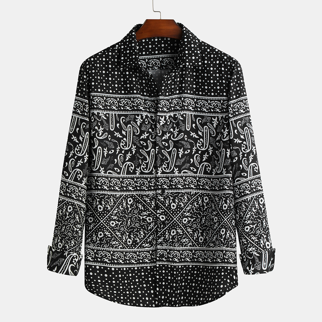 Autumn Black Printing Long Sleeve Casual Shirts