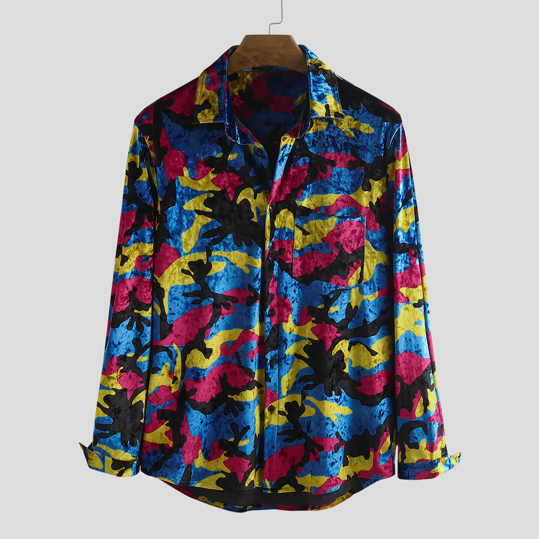 Autumn Colorful Printing Velvet Pocket Long Sleeve Casual Shirts