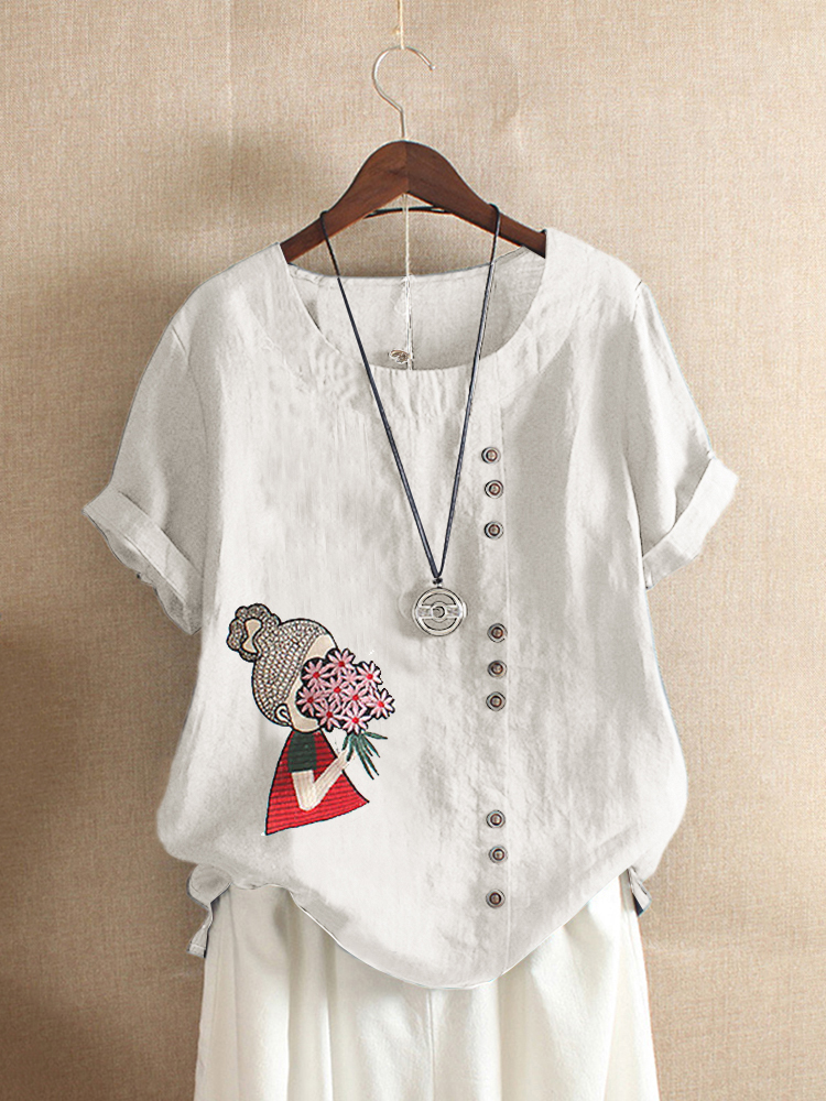 Cartoon Embroidery Short Sleeve O-neck Casual T-shirts
