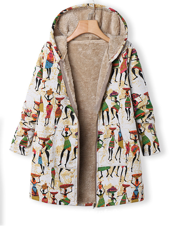 Artistic Pattern Print Zipper Hooded Coats with Pockets
