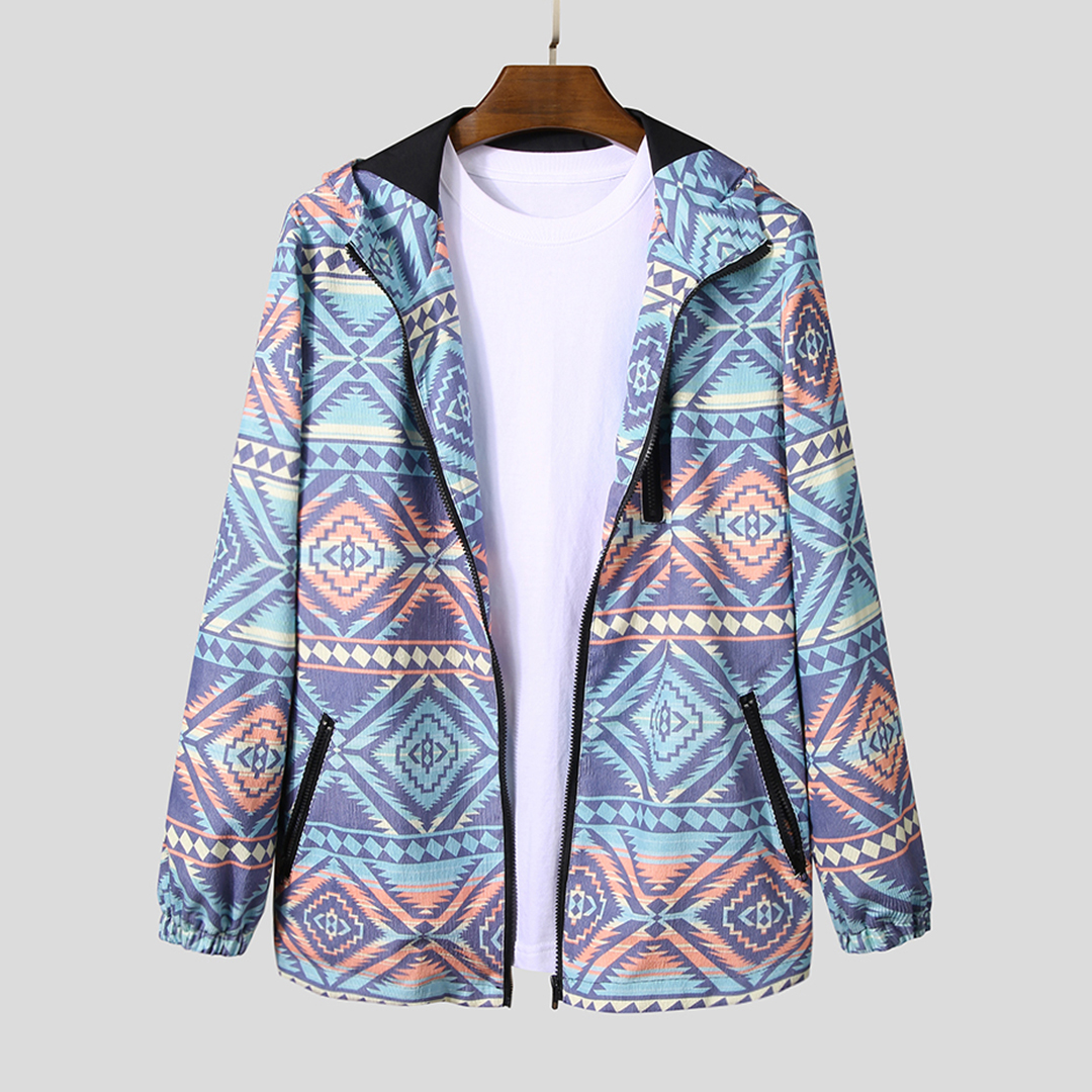 Autumn Corduroy Colorful Printing Hooded Long Sleeve Casual Jacket