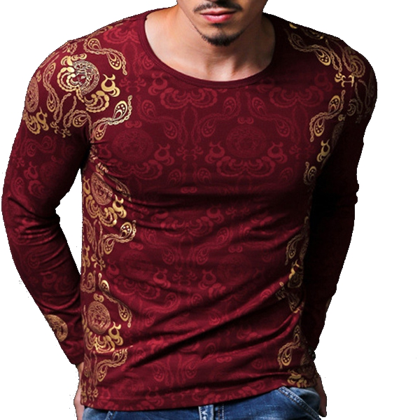Mens Fashion Chinese Style Golden Printing Slim Fit Elastic T-shirts