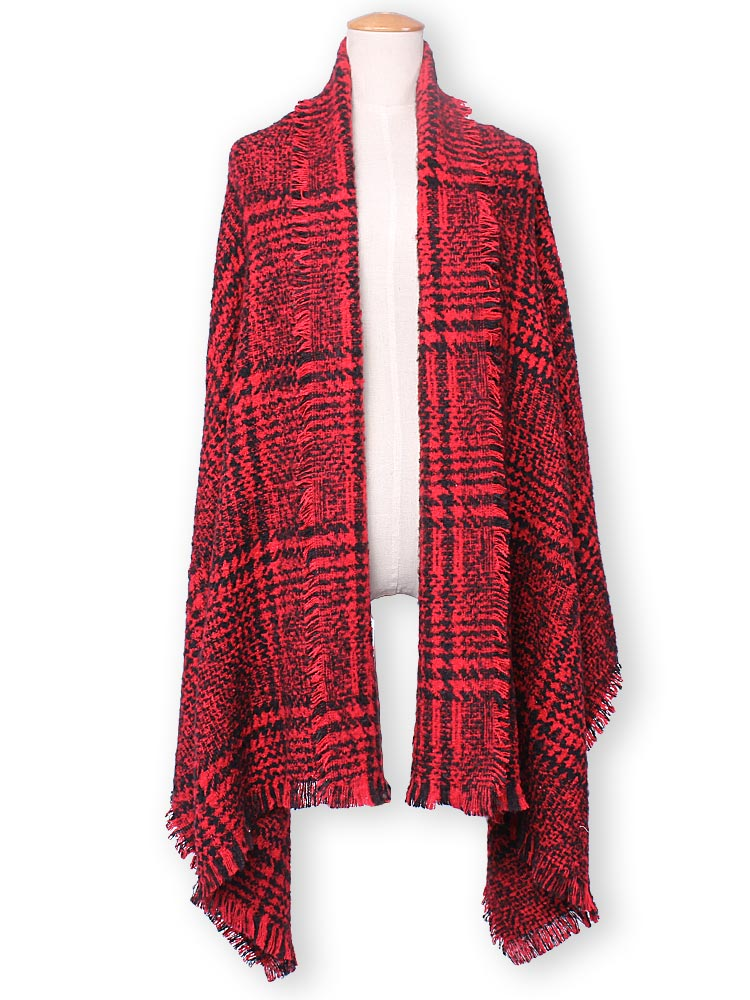 Fashion Casual Plaid Tassle Hem Knitted Tweed Scarf Shawl
