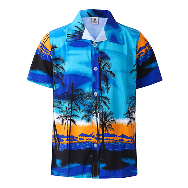 Beach Holiday Breathable Quick Drying Coconut Tree Printing Loose Lounge Short-sleeved Men Shirts