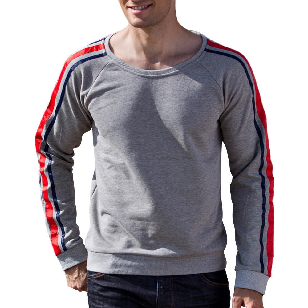 Autumn Winter Pullovers Sweater Men's Cotton Padded Round Neck Long-sleeved Tops