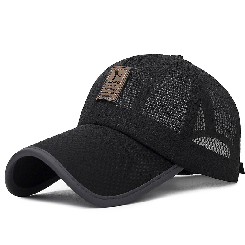 Unisex Sunshade Casual Mesh Cap Thin Cloth Breathable Baseball Cap Summer Leather Label Outdoor Fishing Long Sun Hat