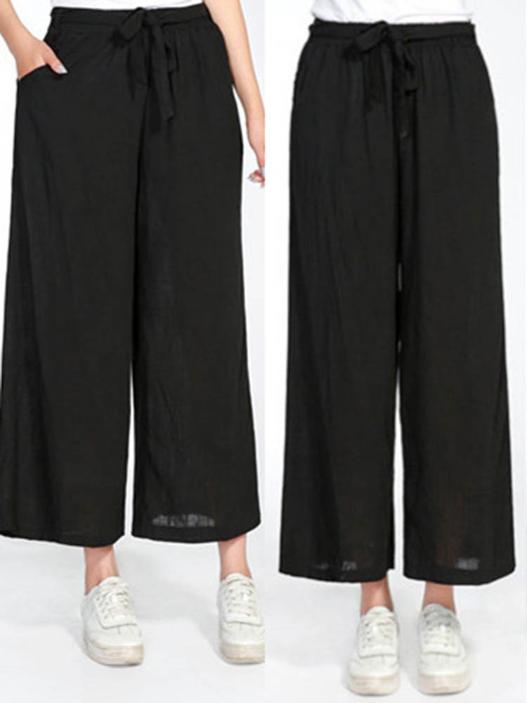 Women Casual Elastic Waist Wide Leg Pants with Belt