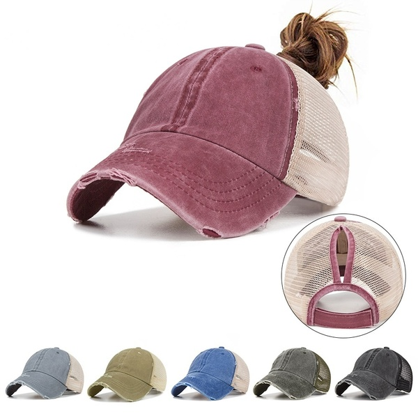 Ladies Summer Fashion Sports Ponytail Baseball Cap Women Messy Bun Baseball Hat
