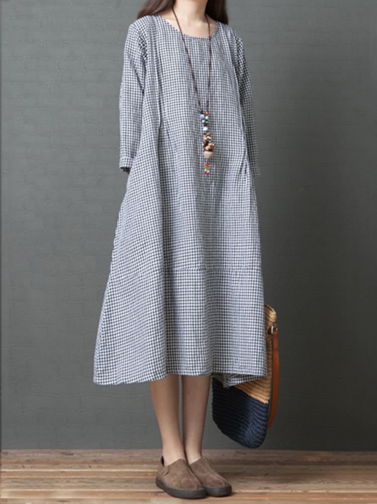 Women Vintage Round Neck Long Sleeve Check Dress with Pockets