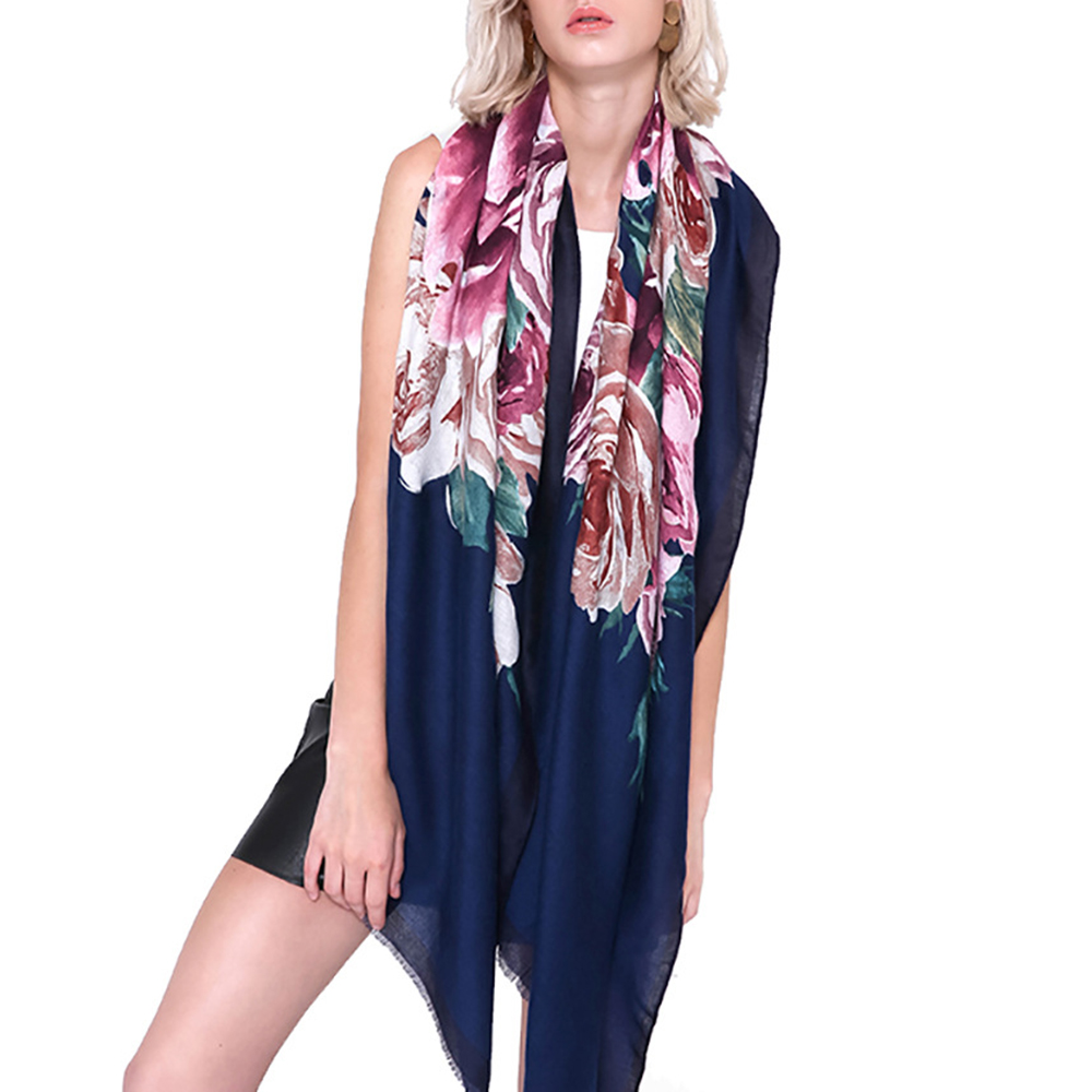 90*180 CM Vintage Summer Women Linen Floral Printting Scarf Outdoor Travel Flower Shawl