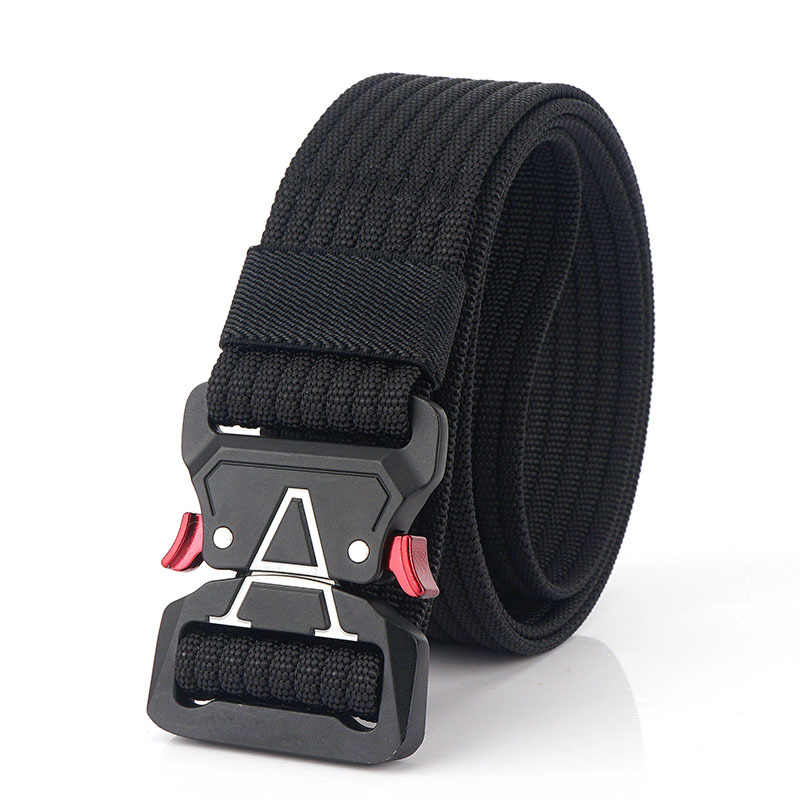 125cm 3.8cm Nylon Waist Leisure Belts Zinc Alloy Tactical Belt Quick Release Inserting Buckle