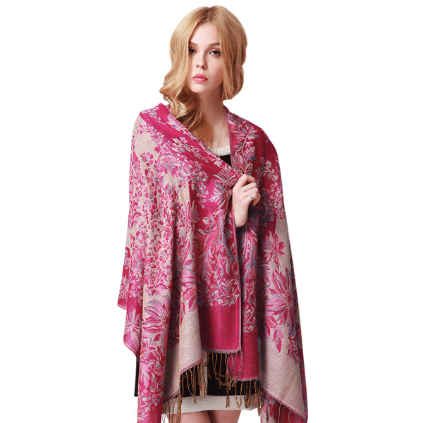 LYZA 190CM Women Flower Printing Scarf Autumn Warm Windproof Tassel Scraves Towel