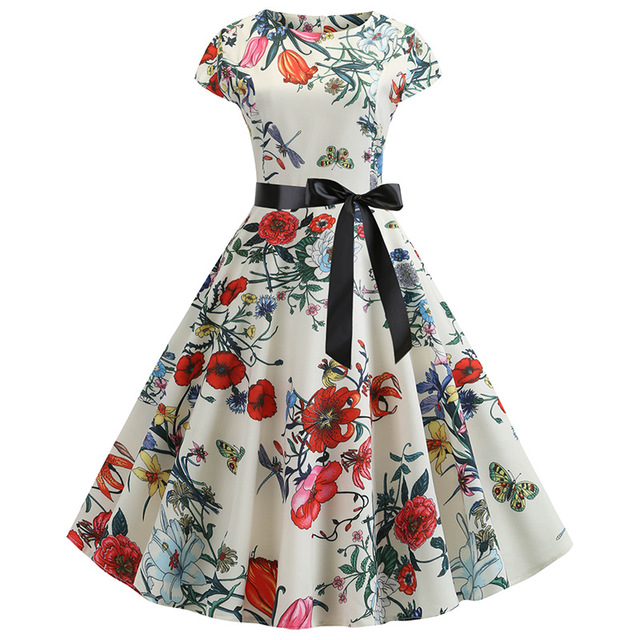 3d Retro Hepburn Digital Print Big Swing Skirt Waist Dress Dress Female 336