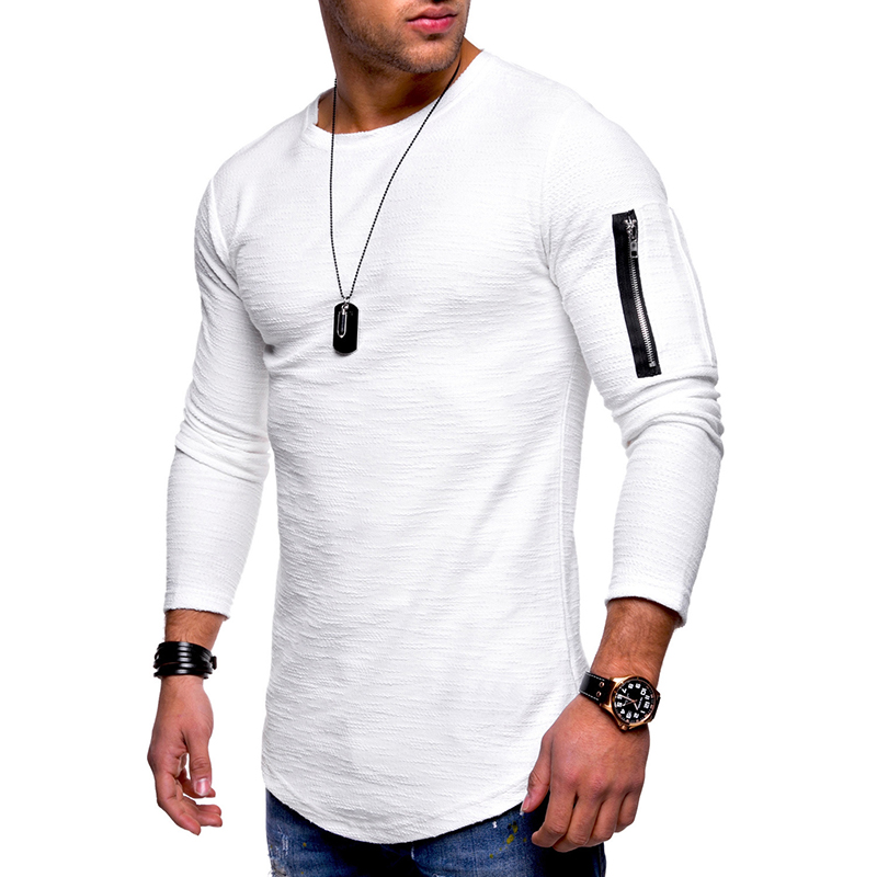 Arm Zipper Stitching Pocket Jacquard T-shirts Men's Solid Color Long Sleeved Casual Tops Tees