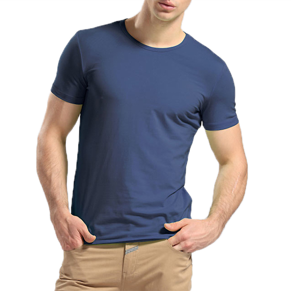 Basic Elastic Slim Soft Cotton Crew Neck Solid Color Casual T-shirts