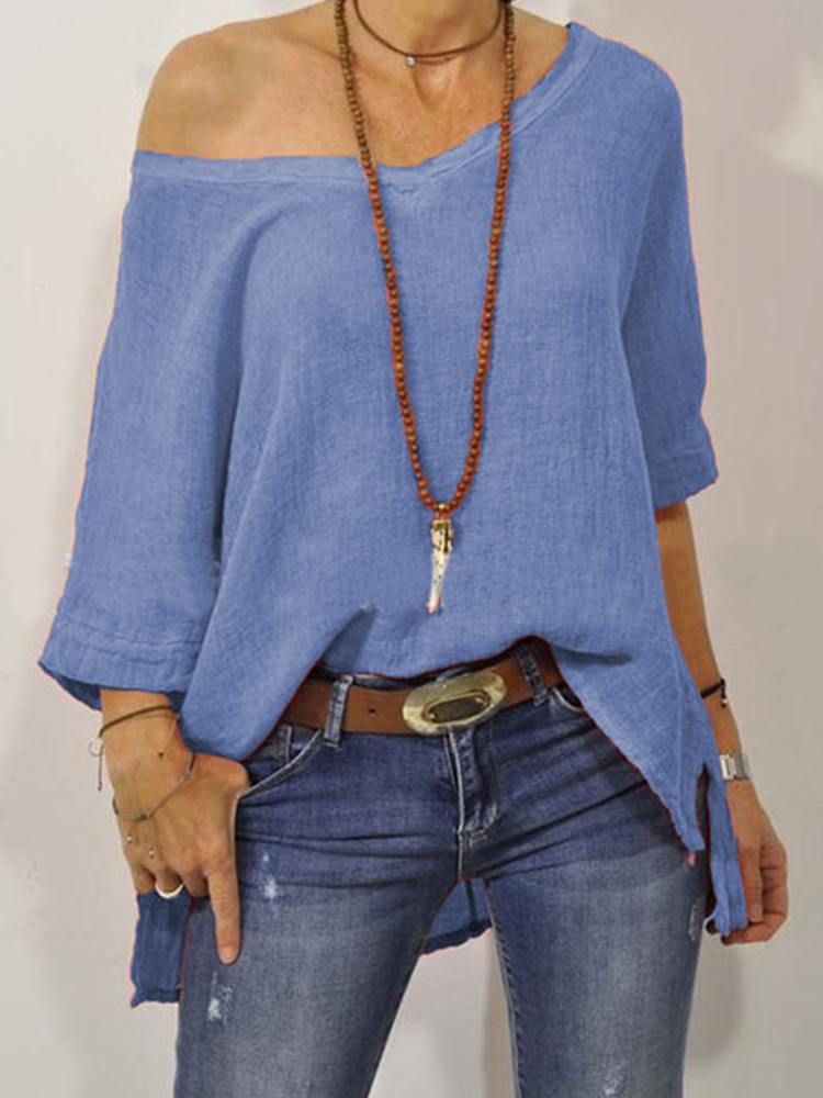 3/4 Sleeve Off-shoulder Solid Color Loose Blouse