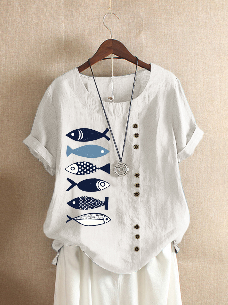 Button Cartoon Fish Print Short Sleeve Casual T-shirts for Women