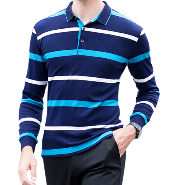 100% Cotton Striped Knitted Long Sleeve Casual Business Golf Shirts for Men