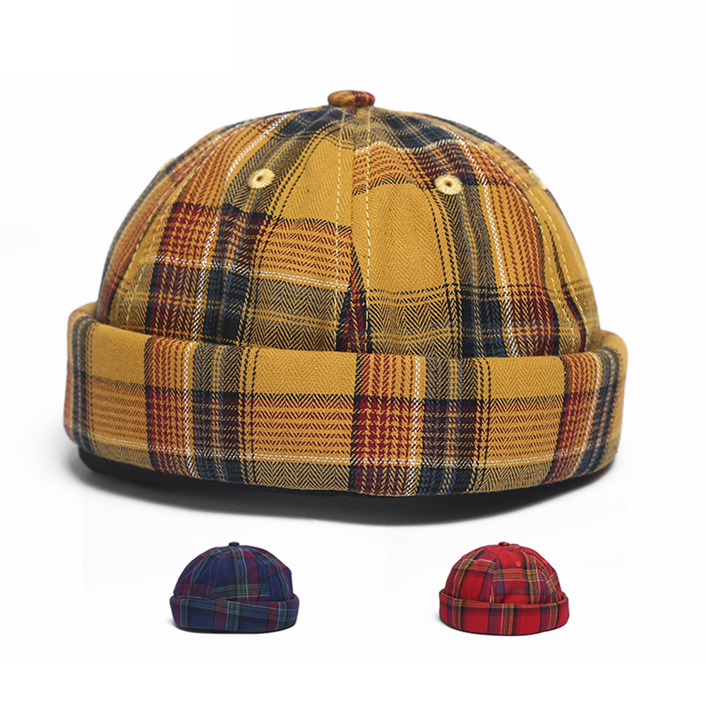 Landlord Cap Dome Cap Innocent Plaid Sailor Cap  Street Trends Melon Stripe Brimless Hats