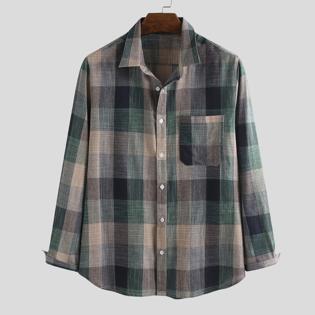100% Cotton Plaid Practical Pocket Long Sleeve Casual Shirts