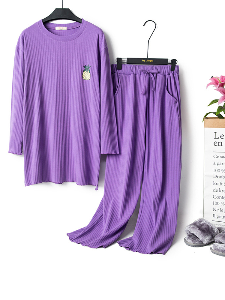Autumn Home Cotton Long Sleeve Elastic Pajama Set